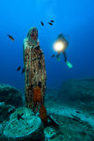 Diver and madonna. Diver with light and madonna Royalty Free Stock Photography