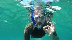 Diver makes OK sign underwater. On the coral reef stock video footage