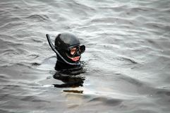 Diver man with mask in water. Diver man with mask in the water Royalty Free Stock Photography
