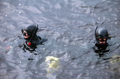 Diver man with mask in water. Diver man with mask in the water Stock Photo
