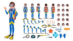 Diver Man Vector. Animated Character Creation Set. Under Water. Scuba Diver. Snorkeling Diving. Full Length, Front, Side. Back View, Poses Face Emotions Royalty Free Stock Photography