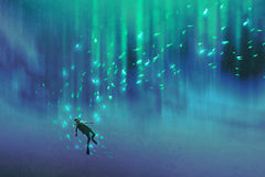 Diver and many glowing fish under the sea. Illustration painting Stock Images