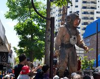 Diver Marionette: Journey of the Giants: Perth, Australia. PERTH,WESTERN AUSTRALIA,AUSTRALIA-FEBRUARY 14,2015:Giant marionette Diver in the city of Perth at the Royalty Free Stock Image