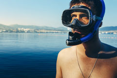 Diver With Mask For Diving And Snorkel At The Sea Shore. Tourism Travel Journey Freediving Concept Royalty Free Stock Photography