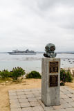 Diver Memorial and Cruise Ship Royalty Free Stock Photography