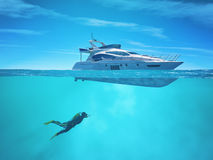 Diver near a cruise ship. This is a 3d render illustration Stock Photo