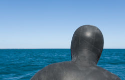 Diver in neoprene suit, back. Royalty Free Stock Photography