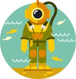 Diver in old diving suit Stock Photo