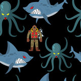 Diver in old diving suit and sea monsters seamless pattern. Wick Royalty Free Stock Photos
