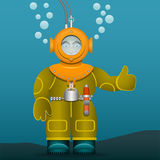 Diver in an old suit and scuba diving helmet. Cartoon style. Vector Image. Royalty Free Stock Photography