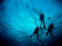 Diver operate. Divers operate themself under the water Royalty Free Stock Image