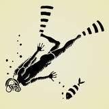 Diver original woodcut Royalty Free Stock Photos