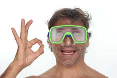 Diver over white Royalty Free Stock Image