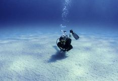 Diver over white sand Stock Photos