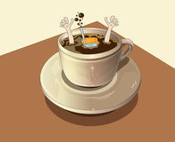 Diver plunges into the coffee. Diver plunges into the cup of coffee Royalty Free Stock Images