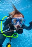 Diver in pool Stock Images