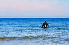 Diver prepare for the dive royalty free stock photos