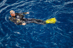 A Diver Prepare to Diving, (Koh Tao, Chumphon). A man who prepare to diving in the blue ocean in Tungku diving area is South-west area of Koh Tao (The popular Royalty Free Stock Photos