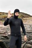 Diver Prepares To Dive Royalty Free Stock Photos