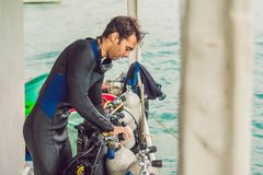 Diver preparing to dive into the sea.  stock photo