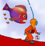 Diver on the prowl. Cartoon illustration of the deep sea diver on the prowl royalty free illustration