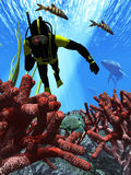 Diver pursued by sharks. Rendered underwater scene with a diver, coral, fish and a couple of sharks in pursuit Royalty Free Stock Photos
