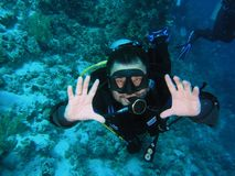 Diver on the reef Royalty Free Stock Photos