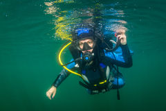 Diver in the river Stock Photos