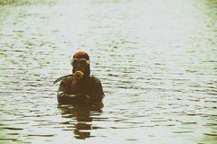 Diver on the river Royalty Free Stock Images