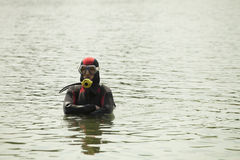 Diver on the river Stock Photography