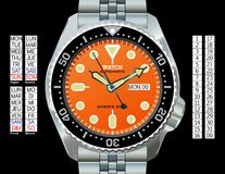 Diver's Watch. A stainless steel diver's watch. (The EPS file is drawn in CMYK with elements placed on individual layers. The time, day (provided in English royalty free illustration