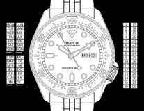 Diver's Watch - Black & White. A diver's watch. (The EPS file is drawn in black and with elements placed on individual layers. The time, day (provided in English royalty free illustration