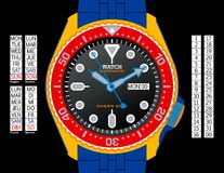 Diver's Watch - Colour. A diver's watch. (The EPS file is drawn in CMYK with elements placed on individual layers. The time, day (provided in English, Spanish vector illustration