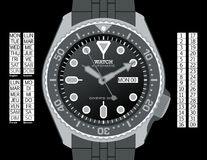 Diver's Watch - Grayscale. A diver's watch. (The EPS file is drawn in grayscale with elements placed on individual layers. The time, day (provided in English royalty free illustration