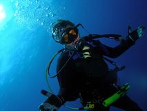 Diver at Safety Stop Stock Images