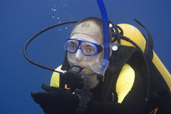 Diver on safety stop Royalty Free Stock Photography
