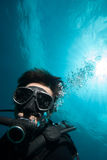 Diver scuba diving bunaken indonesia sea reef ocean close up Stock Images