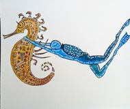 Diver with seahorse vector illustration