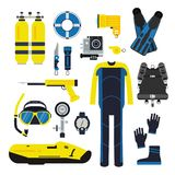 Diver and set elements for underwater sport. Illustrations of diving in flat style Stock Image
