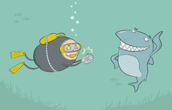 Diver and shark Stock Images
