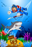 Diver and shark Royalty Free Stock Photography