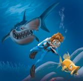 Diver and Shark. Scuba diver hunting fish with spear gun, who is also being hunted by happy shark Stock Images