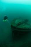 Diver and Shipwreck in Lake Michigan Royalty Free Stock Photos