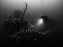 Diver on Shipwreck. Diver on the wreck of the SS Breda, Sound of Mull. Scotland. Covered in Plumose Anemone's Royalty Free Stock Image