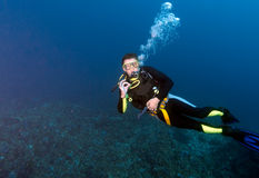 Diver showing ok Stock Photography