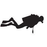 Diver silhouette. Diver silhouette in black. Vector image stock illustration