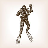 Diver sketch vector Stock Photography