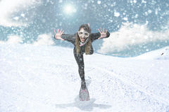 Diver in a snow blizzard stock photography