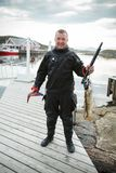 Diver with Norwegian fish Royalty Free Stock Photo