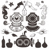 Diver and submarine. Vintage hand drawn elements in nautical Royalty Free Stock Image